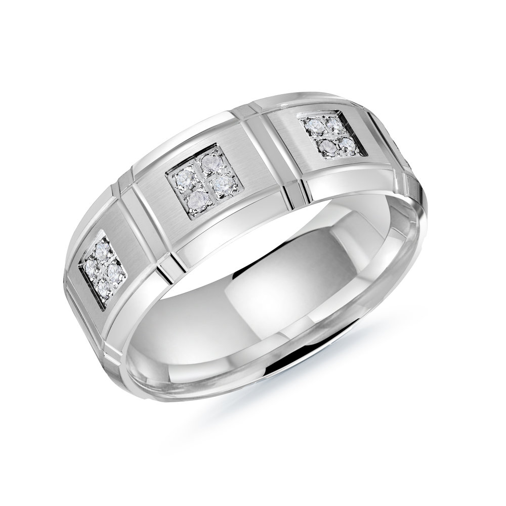 White Gold Men's Ring Size 8mm (MRD-112-8W22)
