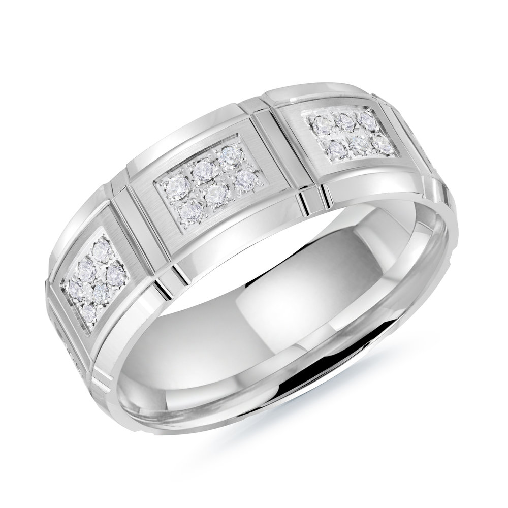 White Gold Men's Ring Size 8mm (MRD-113-8W34)