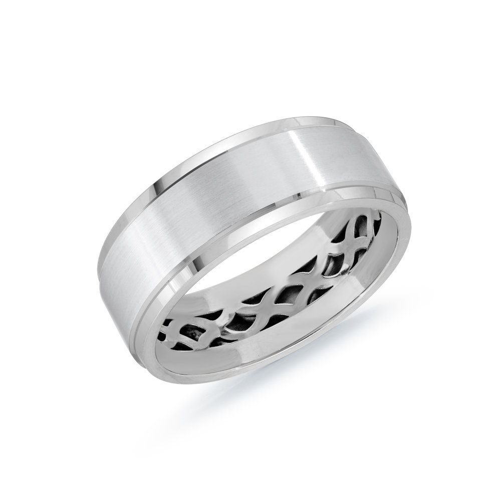 White Gold Men's Ring Size 8mm (MRD-123-8W)