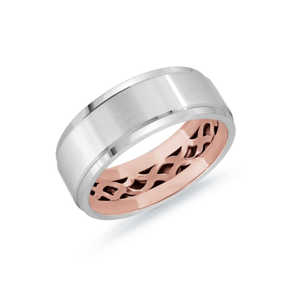 White/Pink Gold Men's Ring Size 8mm (MRD-123-8WZP)