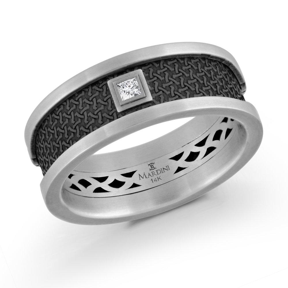 White Gold Men's Ring Size 8mm (MRDA-006-8W5)