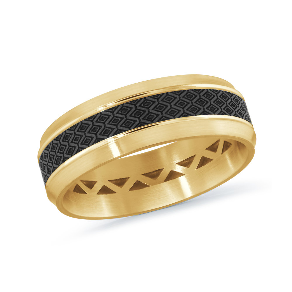 Yellow Gold Men's Ring Size 7mm (MRDA-016-7Y)