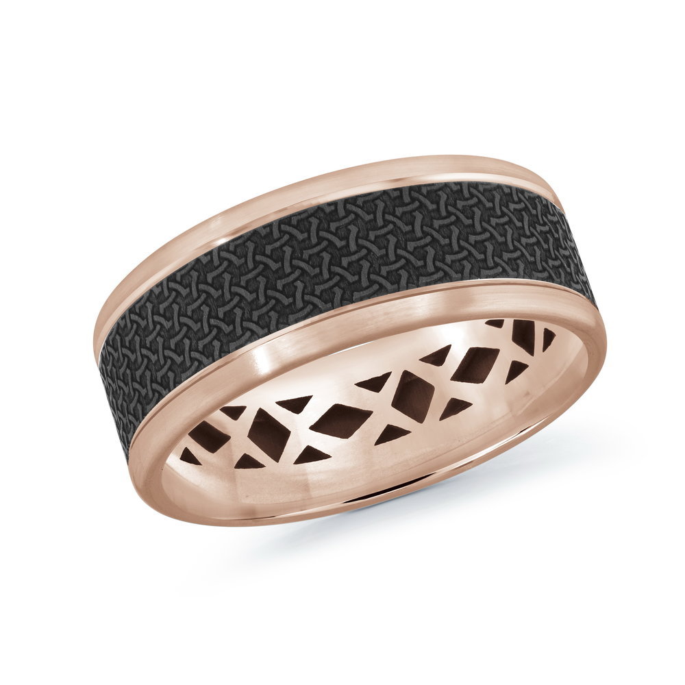 Pink Gold Men's Ring Size 8mm (MRDA-018-8P)