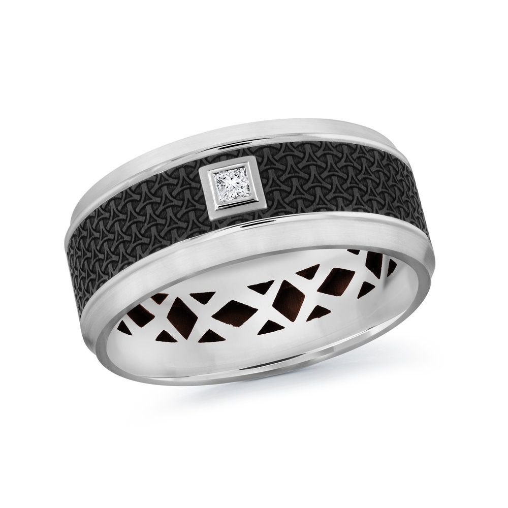 White Gold Men's Ring Size 9mm (MRDA-022-9W5)