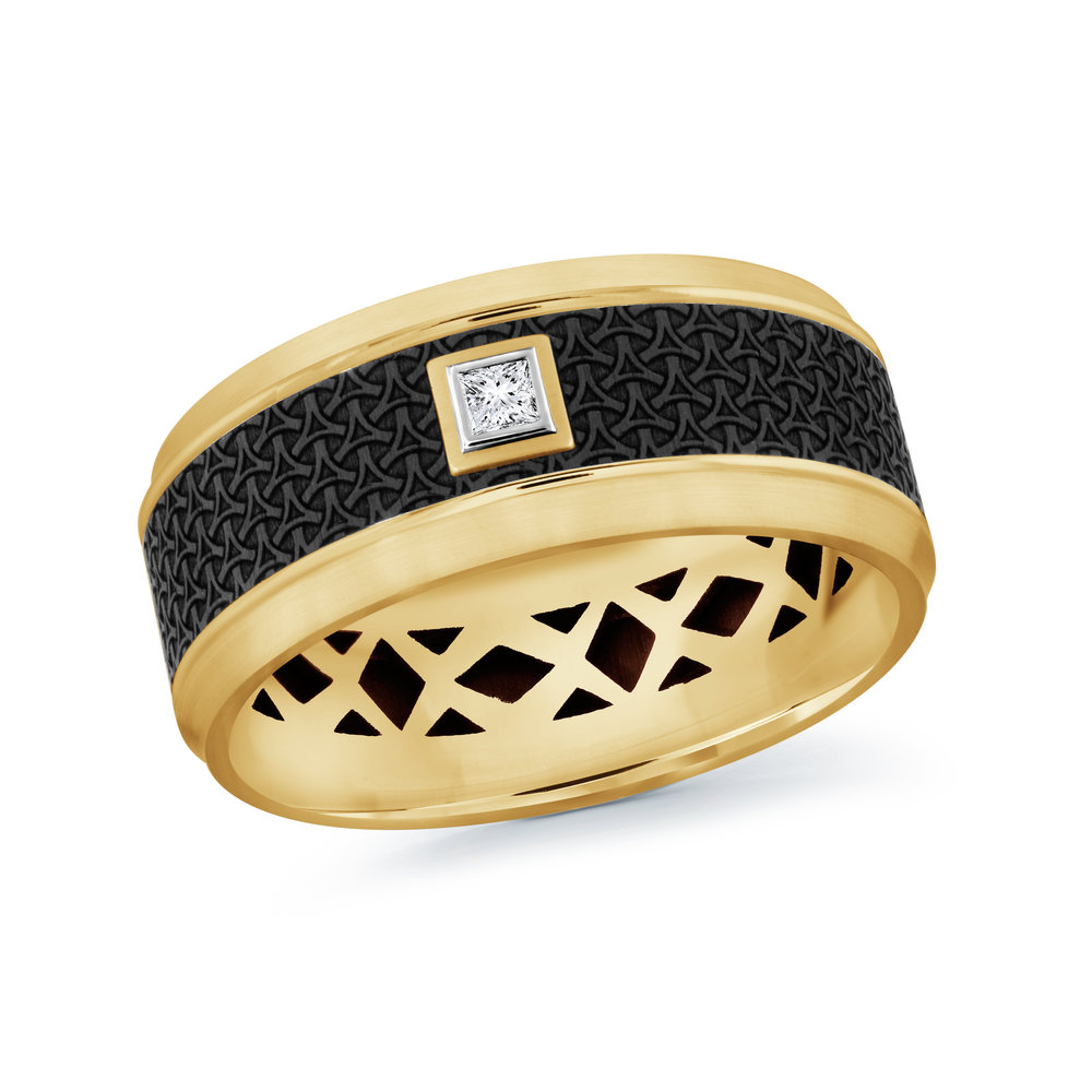 Yellow Gold Men's Ring Size 9mm (MRDA-022-9Y5)
