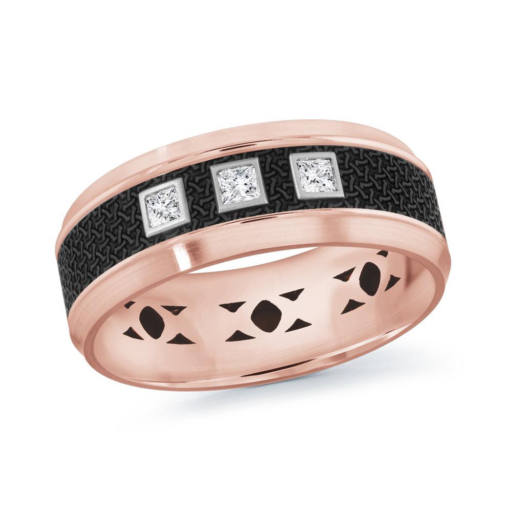 Pink Gold Men's Ring Size 8mm (MRDA-023-8P15)
