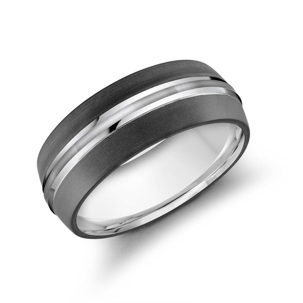 White Gold Men's Ring Size 8mm (MRDA-026-8W)