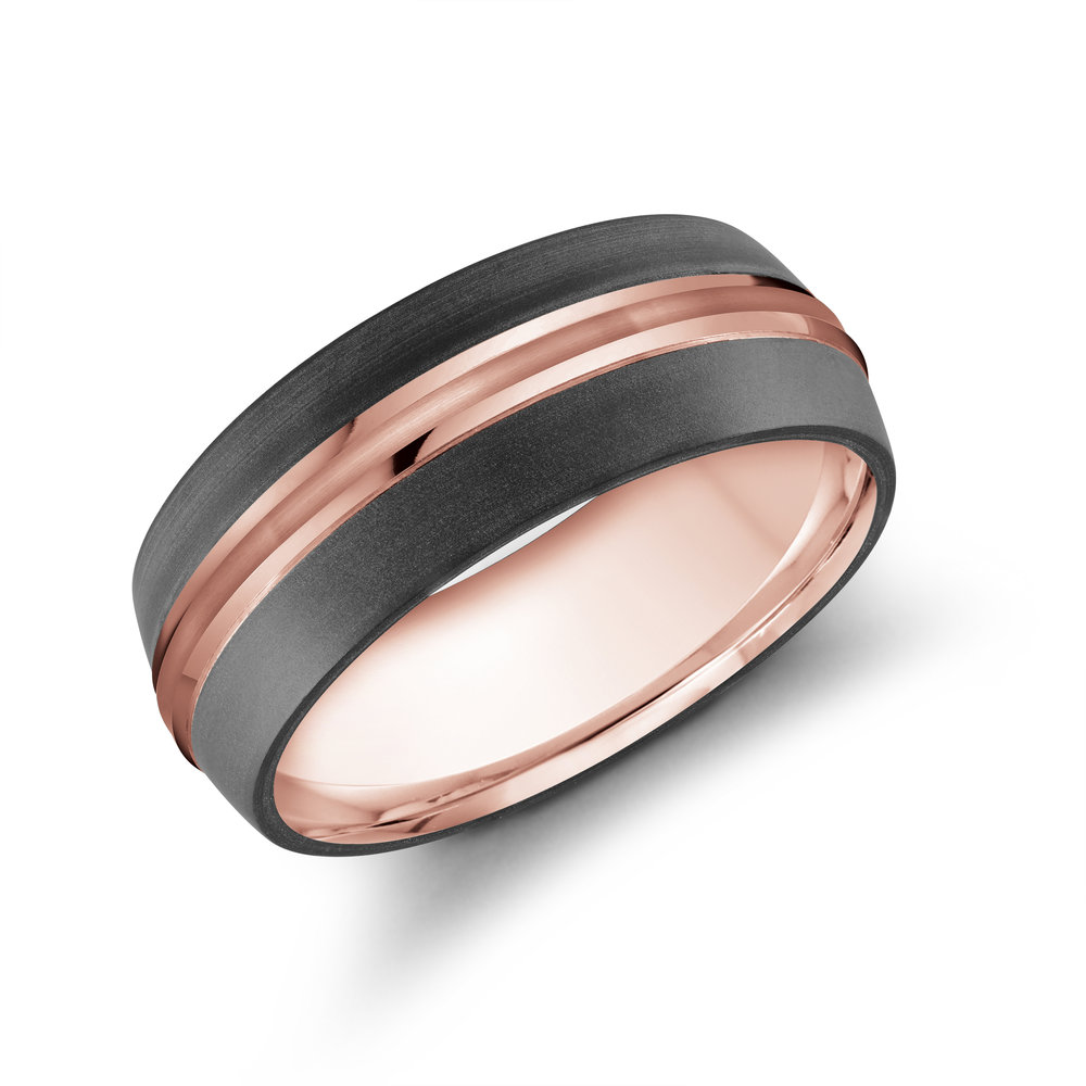 Pink Gold Men's Ring Size 8mm (MRDA-026-8P)