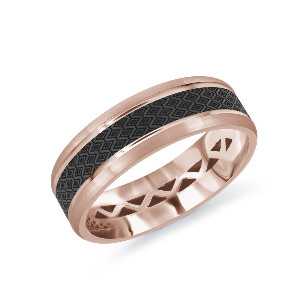 Pink Gold Men's Ring Size 7mm (MRDA-021-7P)