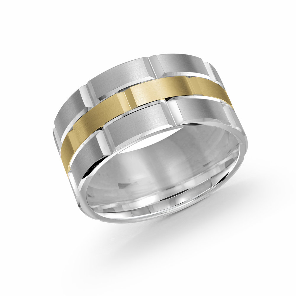 White/Yellow Gold Men's Ring Size 11mm (FJM-002-11WY)