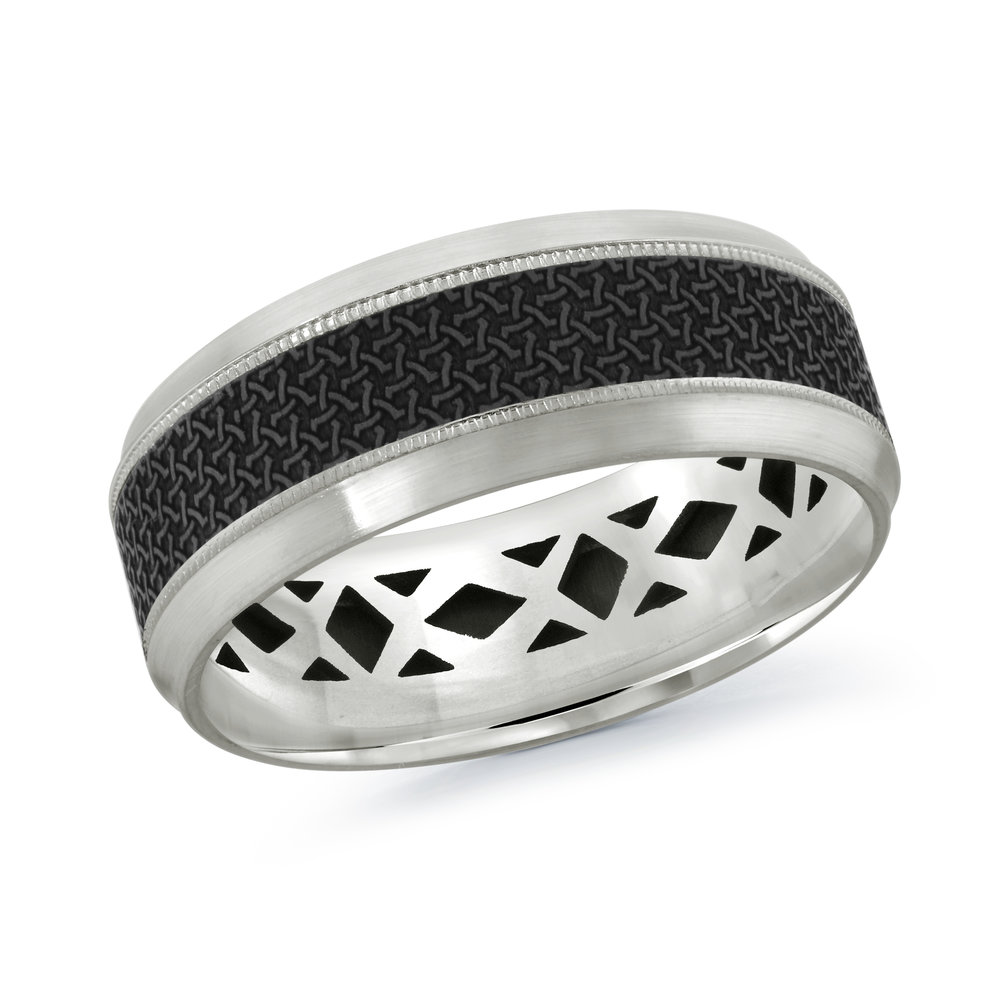 White Gold Men's Ring Size 8mm (MRDA-017-8W)