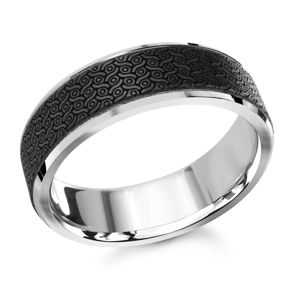 White Gold Men's Ring Size 7mm (MRDA-041-7W)