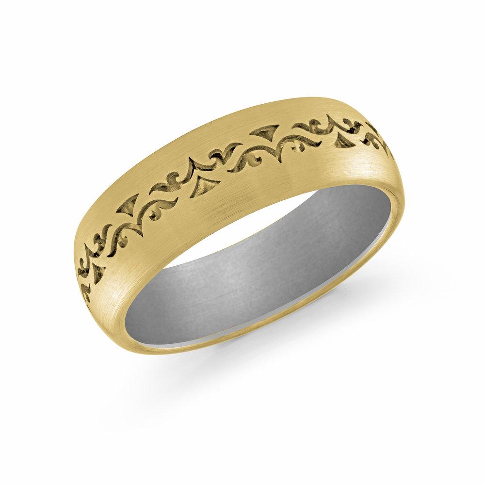 Yellow/White Gold Men's Ring Size 7mm (FJM-008-7YZW)