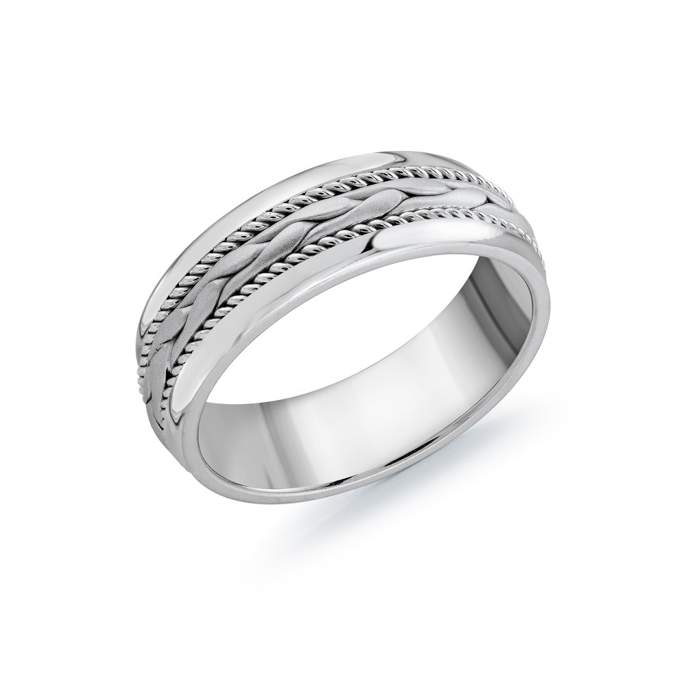 White Gold Men's Ring Size 7mm (MRD-061-7W)