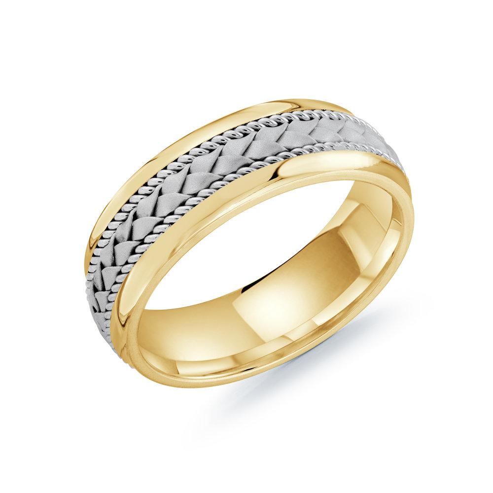 Yellow/White Gold Men's Ring Size 7mm (MRD-066-7YWW)