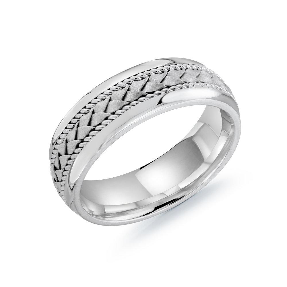 White Gold Men's Ring Size 7mm (MRD-066-7W)