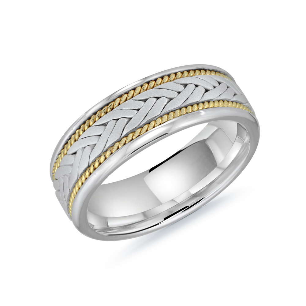 White/Yellow Gold Men's Ring Size 8mm (MRD-064-8WYW)
