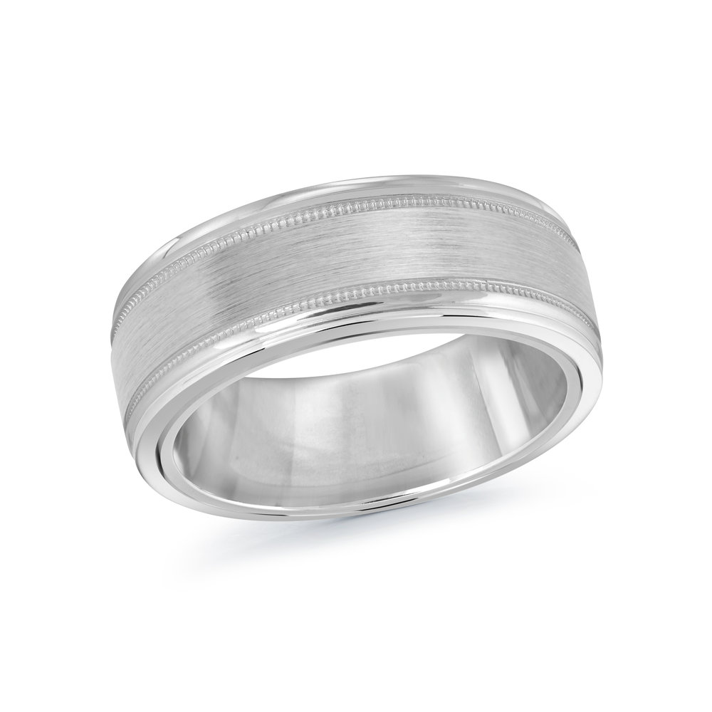 White Gold Men's Ring Size 8mm (MRD-094-8W)