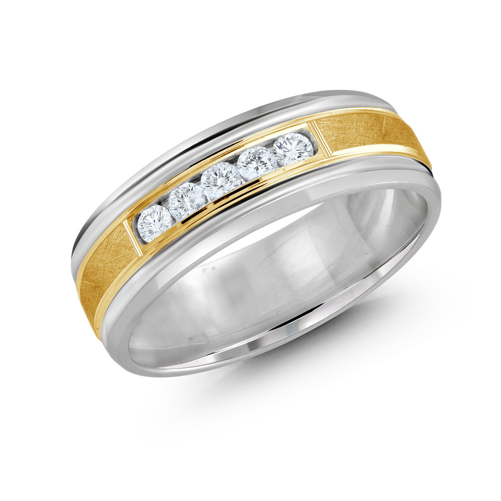 White/Yellow Gold Men's Ring Size 7mm (JMD-471-7WY25)