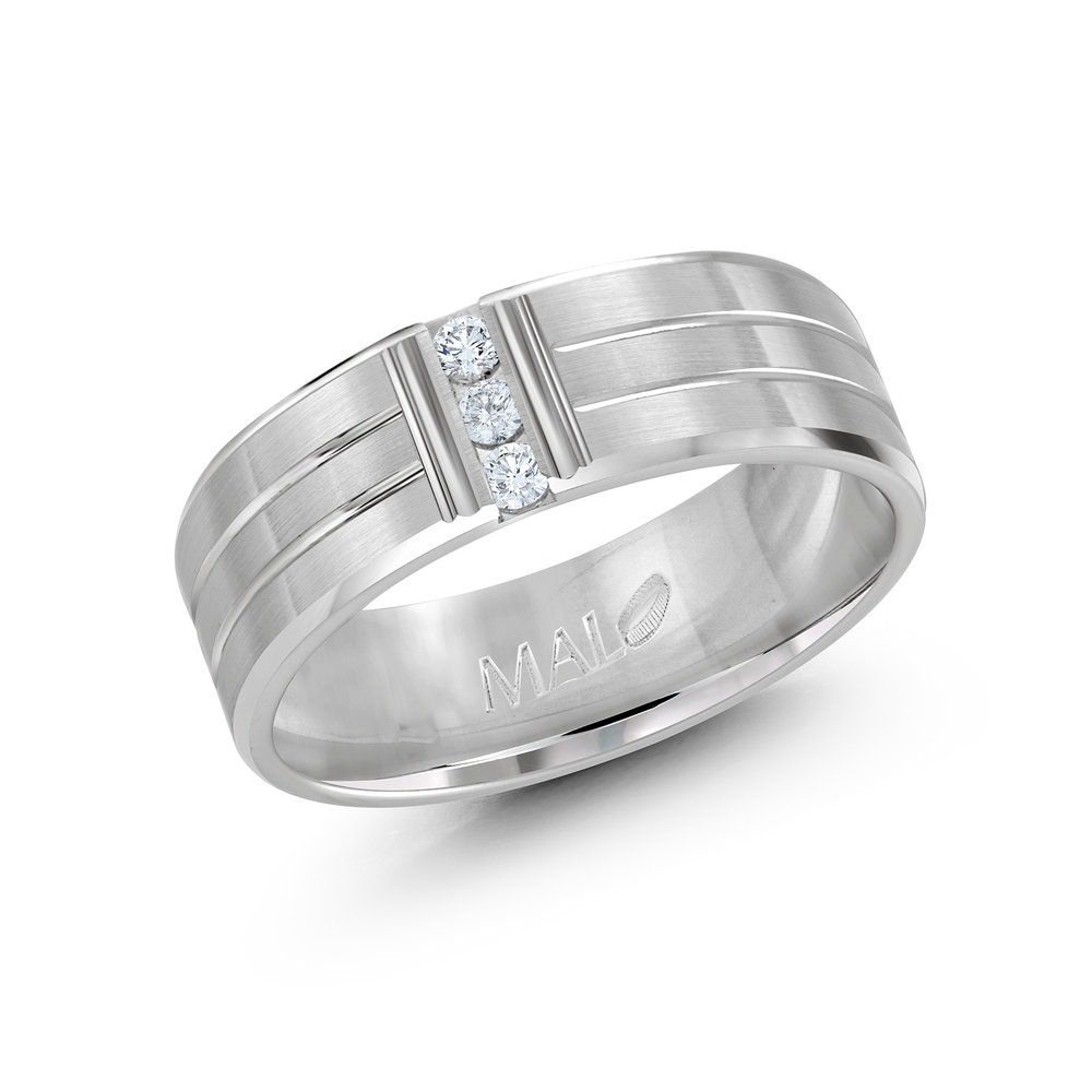 White Gold Men's Ring Size 7mm (JMD-500-7W10)