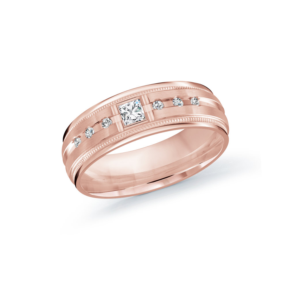 Pink Gold Men's Ring Size 7mm (JMD-503-7P20)