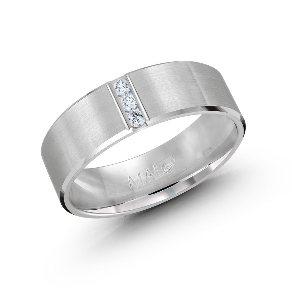 White Gold Men's Ring Size 7mm (JMD-509-7W10)