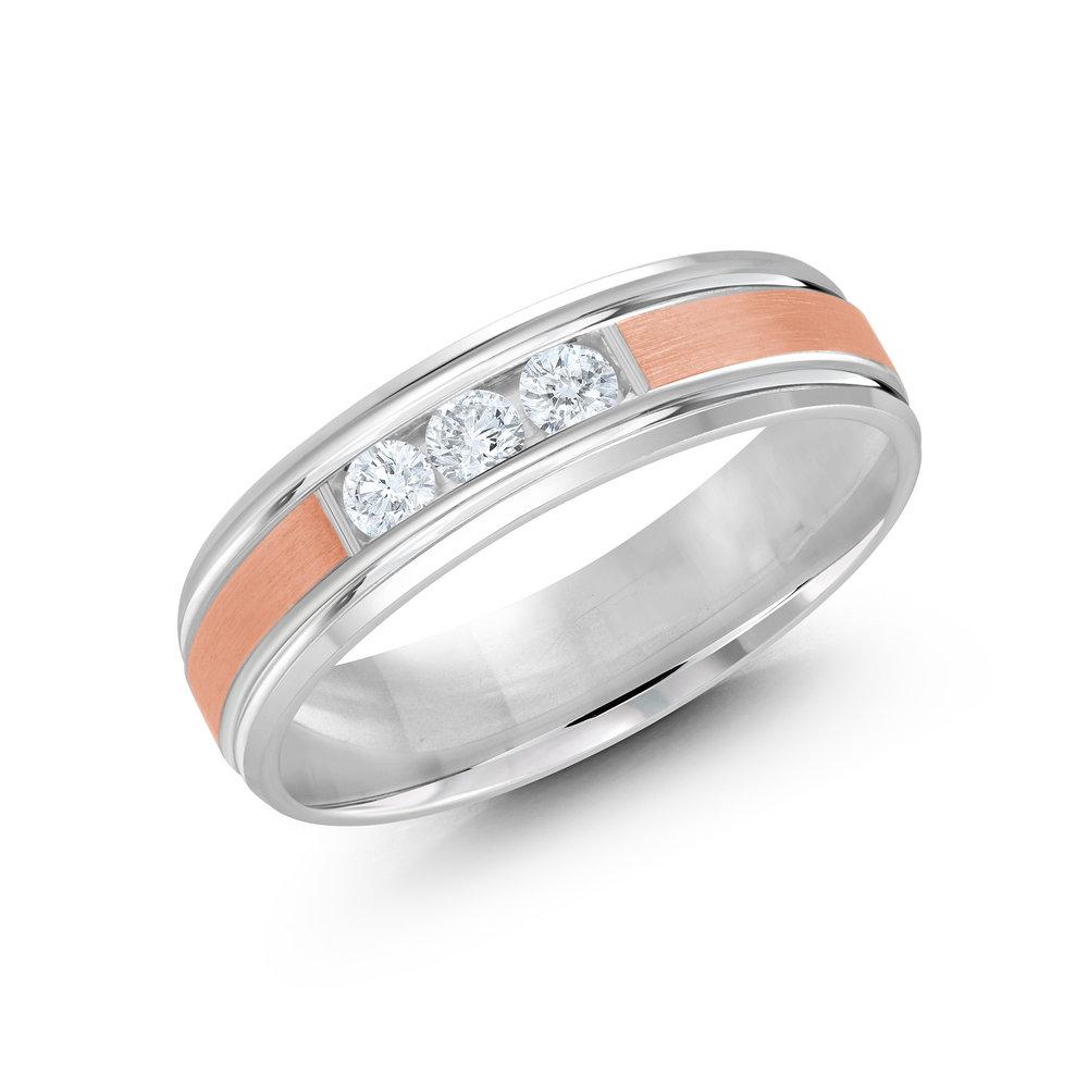 White/Pink Gold Men's Ring Size 6mm (JMD-520-6WP21)