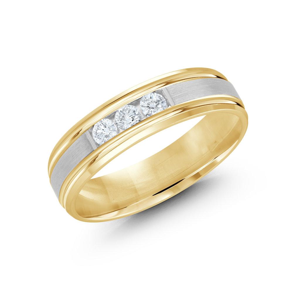 Yellow/White Gold Men's Ring Size 6mm (JMD-520-6YW21)