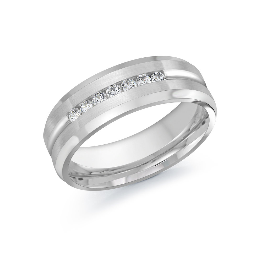 White Gold Men's Ring Size 7mm (JMD-599-7W25)