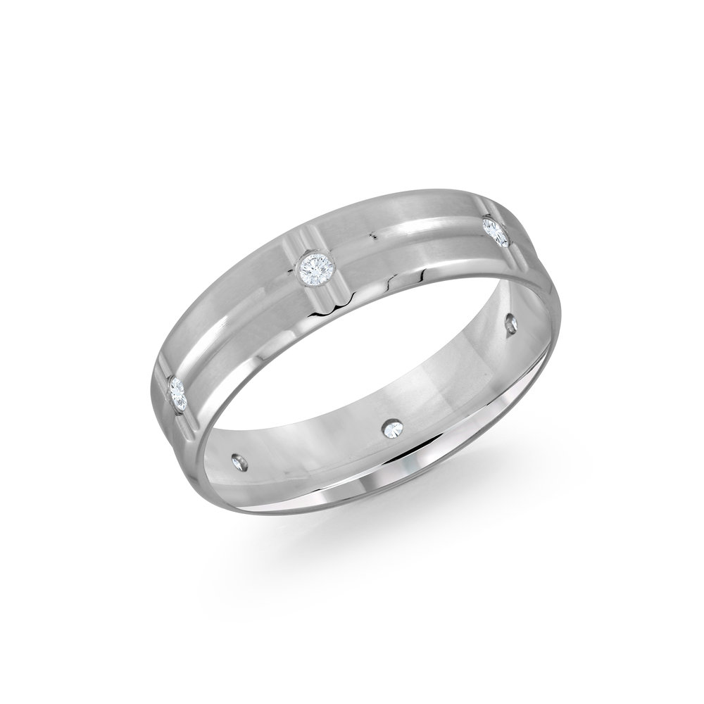 White Gold Men's Ring Size 6mm (JMD-606-6W12)