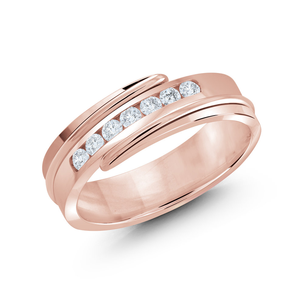 Pink Gold Men's Ring Size 7mm (JMD-634-7P25)
