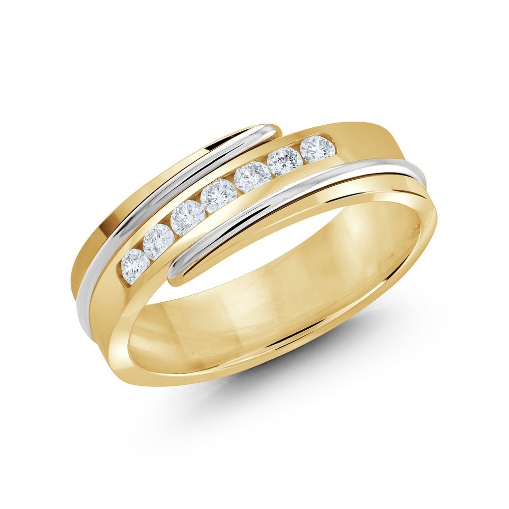 Yellow/White Gold Men's Ring Size 7mm (JMD-634-7YW25)