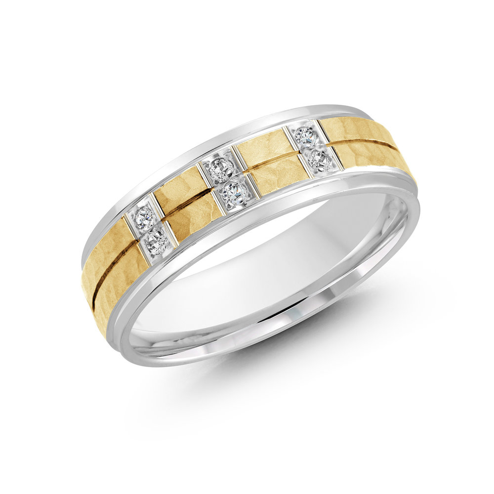 White/Yellow Gold Men's Ring Size 7mm (JMD-815-7WY9)