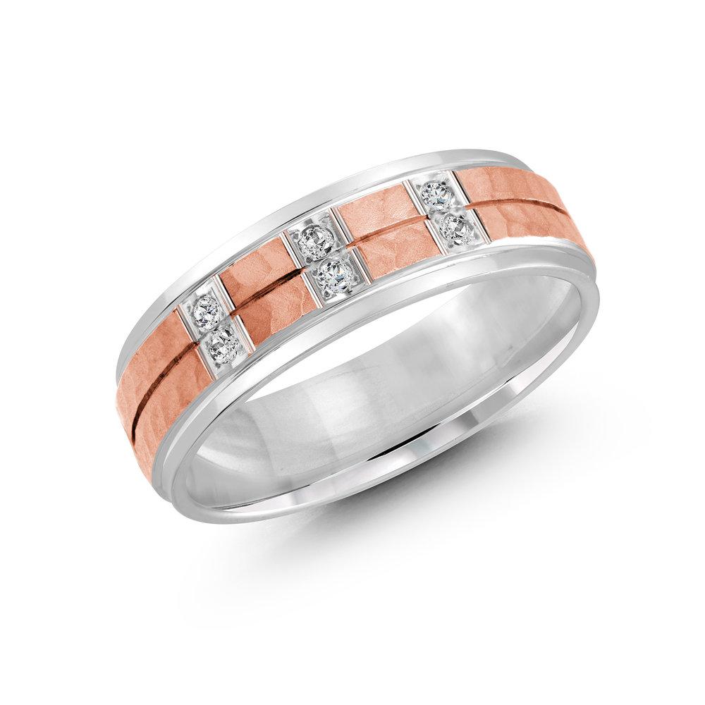 White/Pink Gold Men's Ring Size 7mm (JMD-815-7WP9)