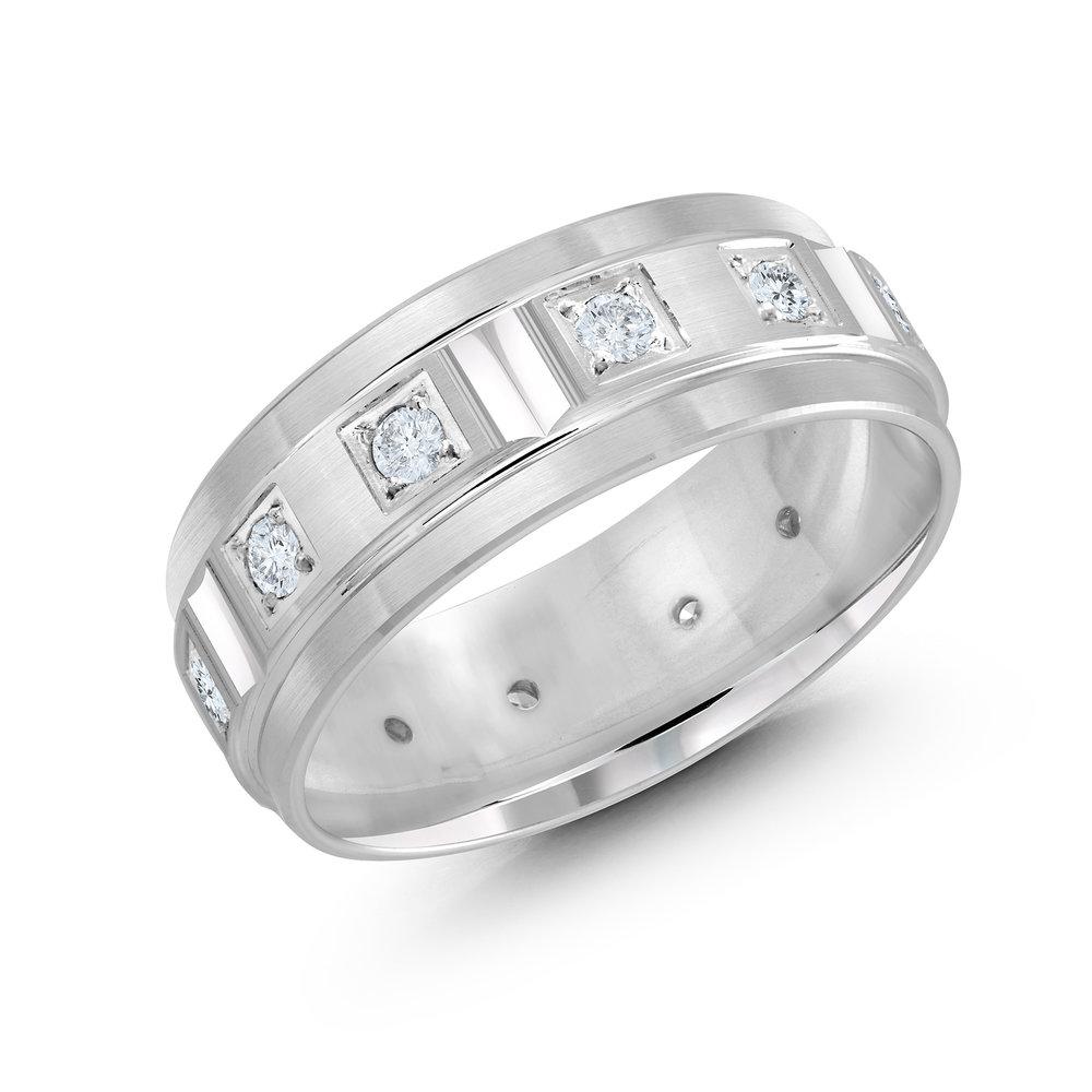 White Gold Men's Ring Size 8mm (JMD-826-8W50)