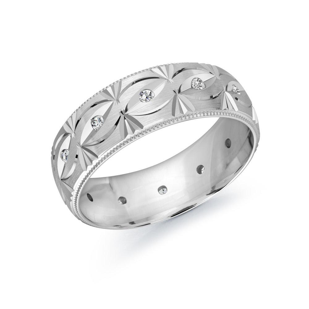 White Gold Men's Ring Size 7mm (JMD-827-7W18)