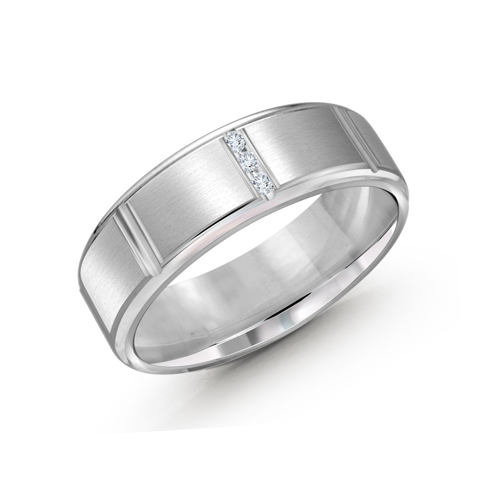 White Gold Men's Ring Size 7mm (JMD-1088-7W10)