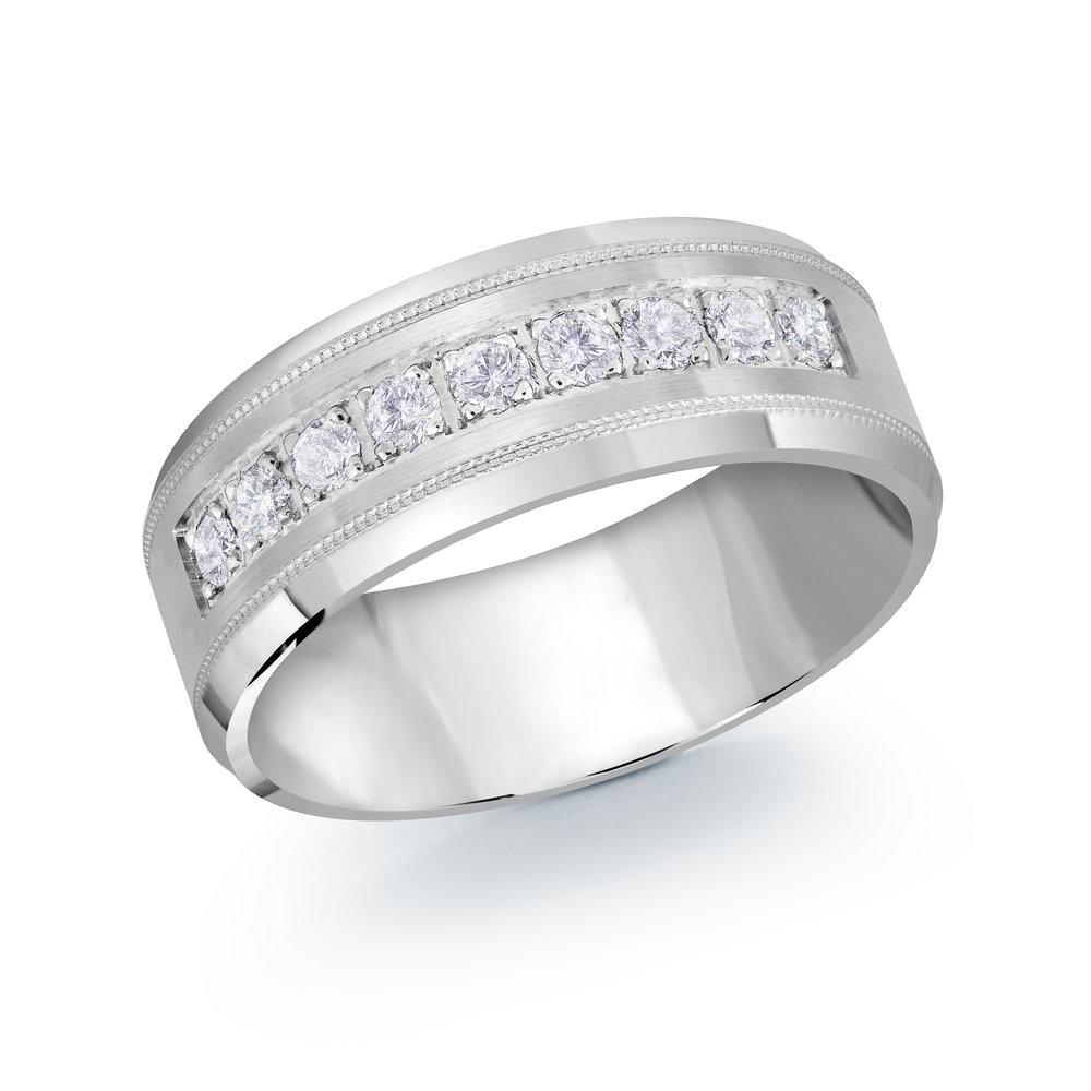 White Gold Men's Ring Size 8mm (JMD-1095-8W45)