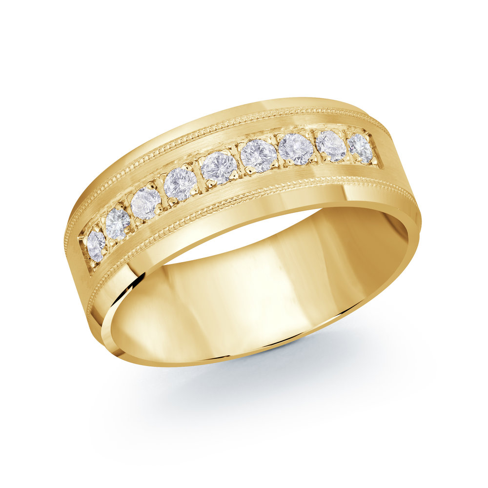 Yellow Gold Men's Ring Size 8mm (JMD-1095-8Y45)