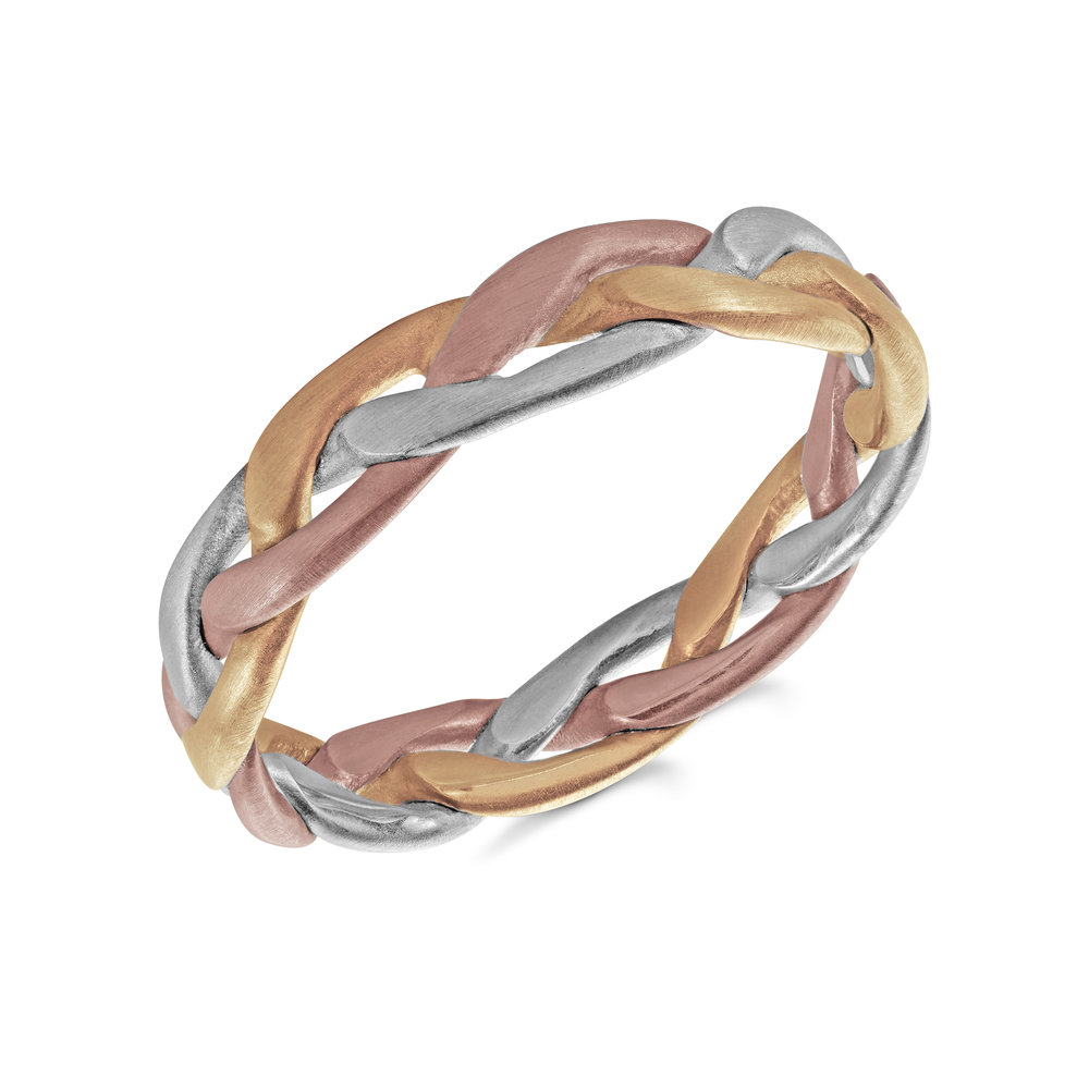 Tri-Color Gold Men's Ring Size 4mm (MRD-129-5T)