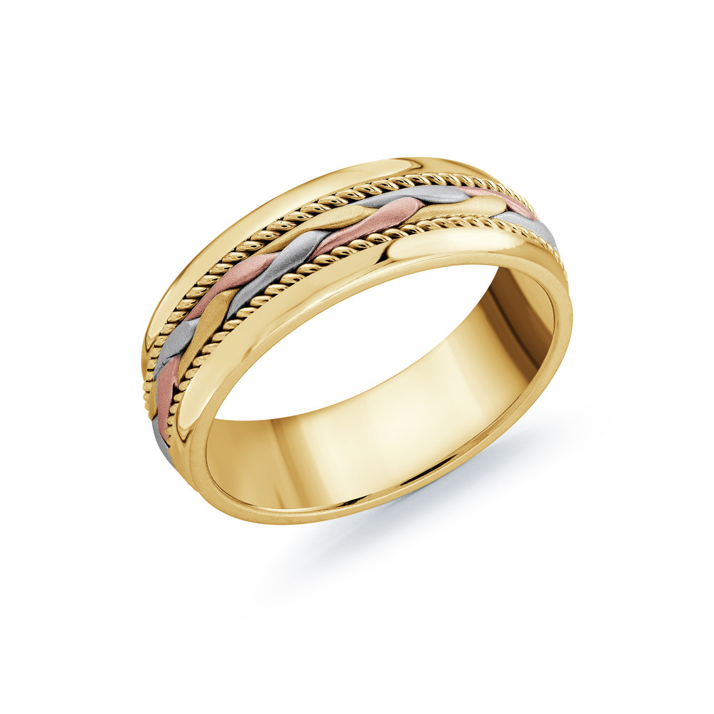 Tri-Color Gold Men's Ring Size 7mm (MRD-061-7YYT)