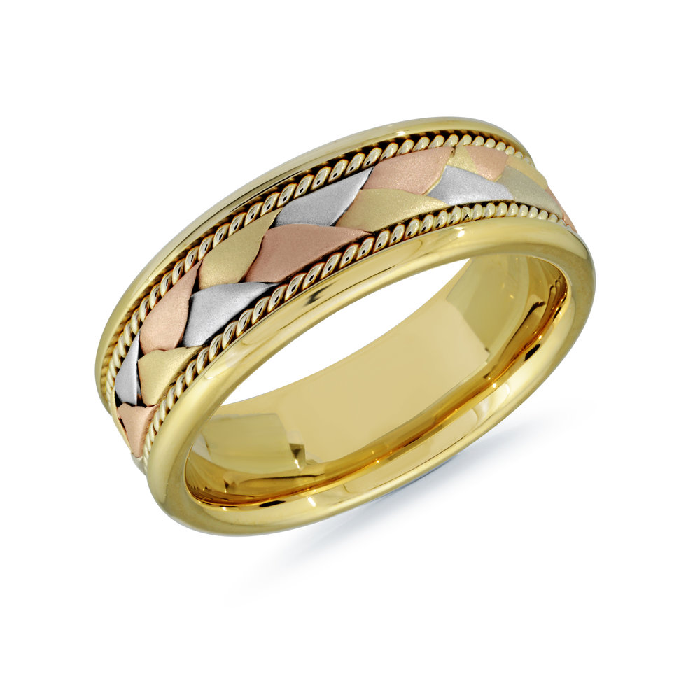 Tri-Color Gold Men's Ring Size 8mm (MRD-060-8YYT)