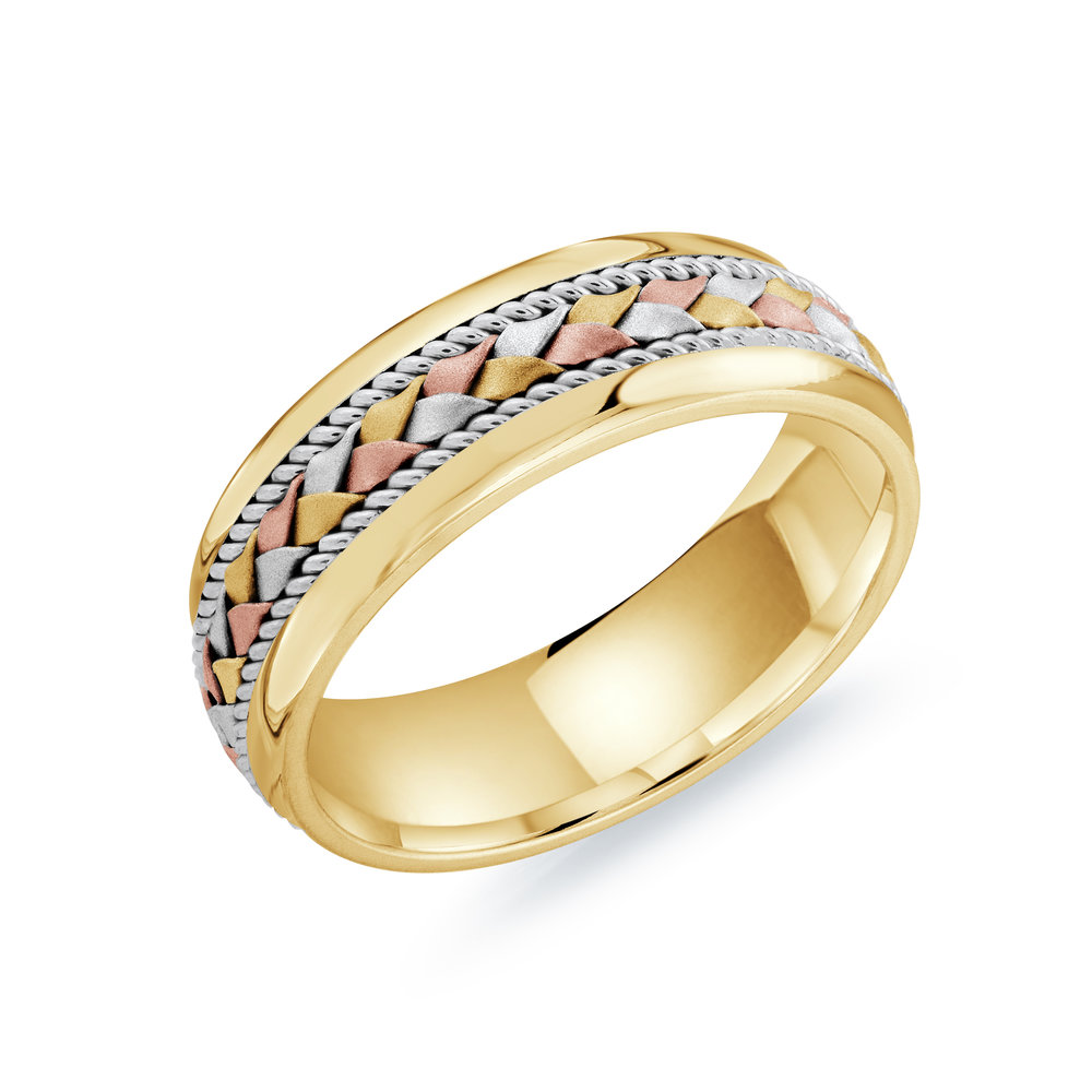 Tri-Color Gold Men's Ring Size 7mm (MRD-066-7YWT)