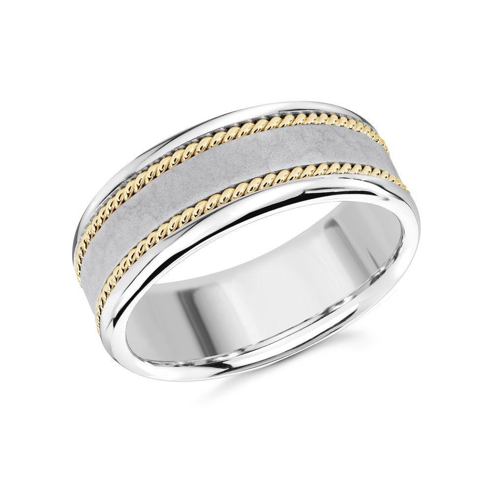 White/Yellow Gold Men's Ring Size 8mm (MRD-065-8WYW)