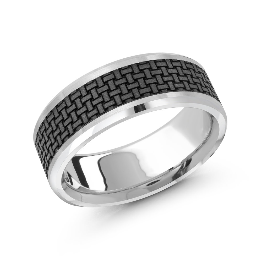 White Gold Men's Ring Size 8mm (MRDA-043-8W)