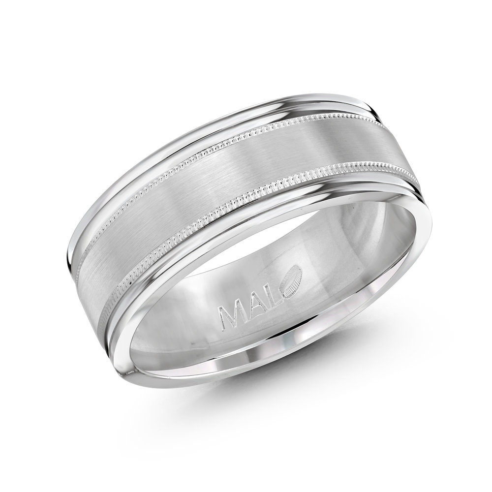 White Gold Men's Ring Size 8mm (LUX-738-8W)