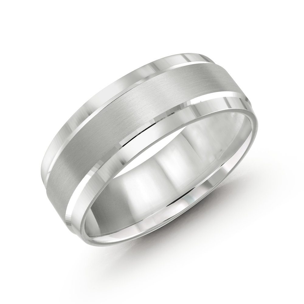 White Gold Men's Ring Size 8mm (LUX-418-8W)
