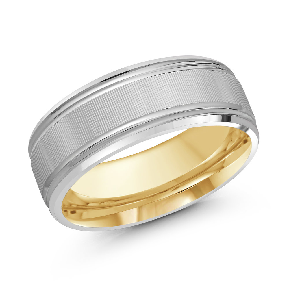 White/Yellow Gold Men's Ring Size 8mm (LUX-167-8WZY)