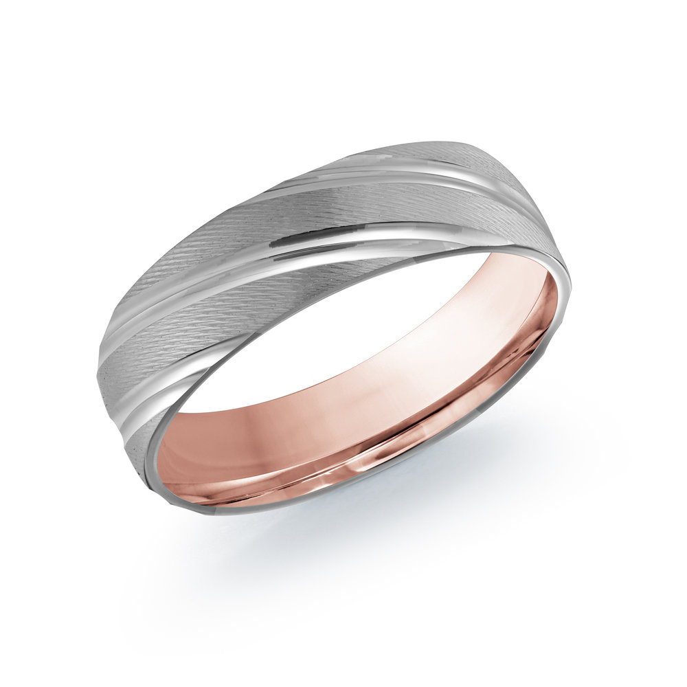 White/Pink Gold Men's Ring Size 6mm (LUX-012-6WZP)