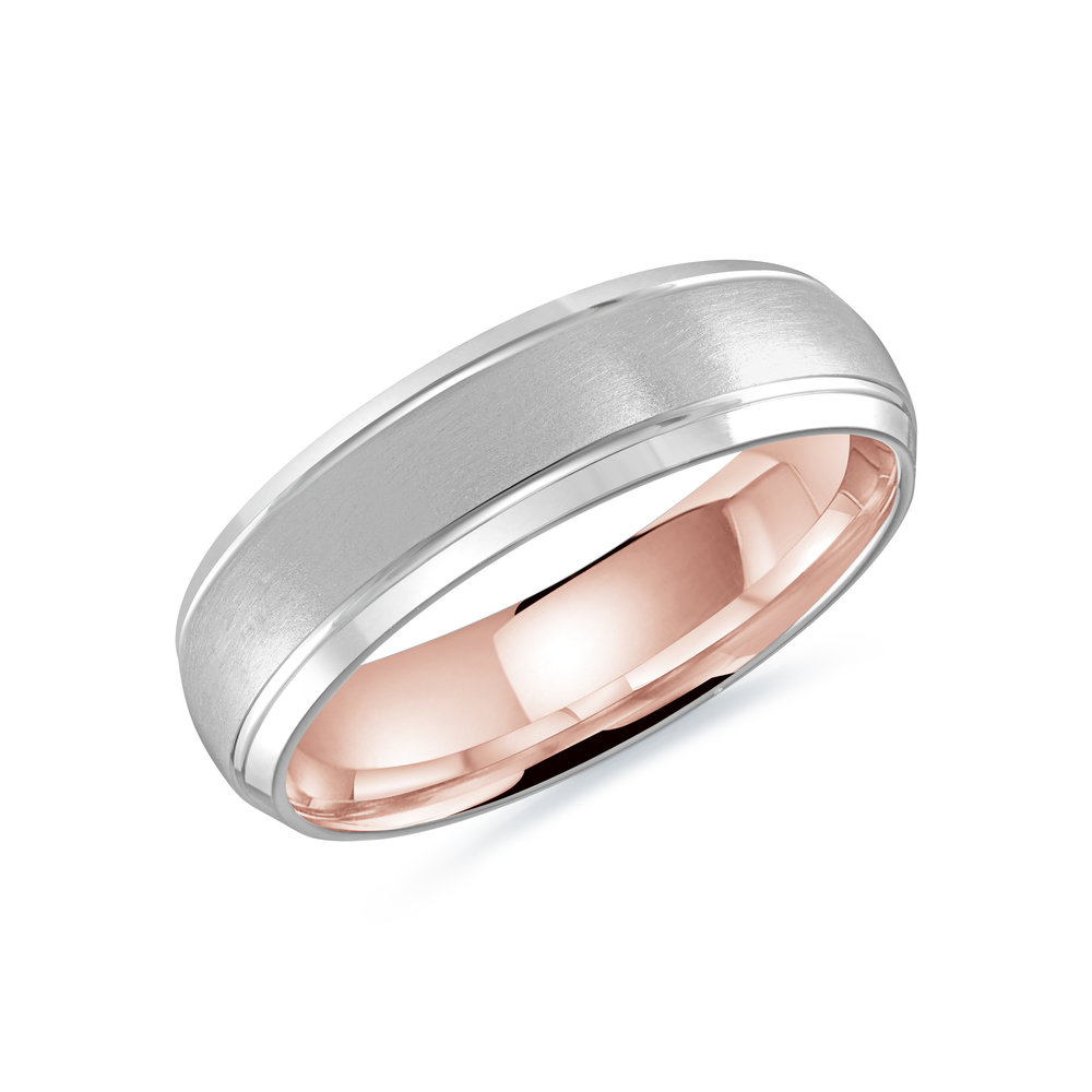 White/Pink Gold Men's Ring Size 6mm (LUX-014-6WZP)